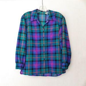 Vintage 80's Green & Purple Plaid Button-Up Top